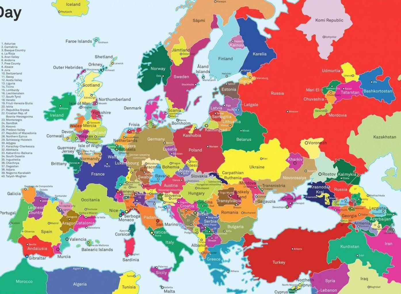 Cartina Europa degli indipendentisti